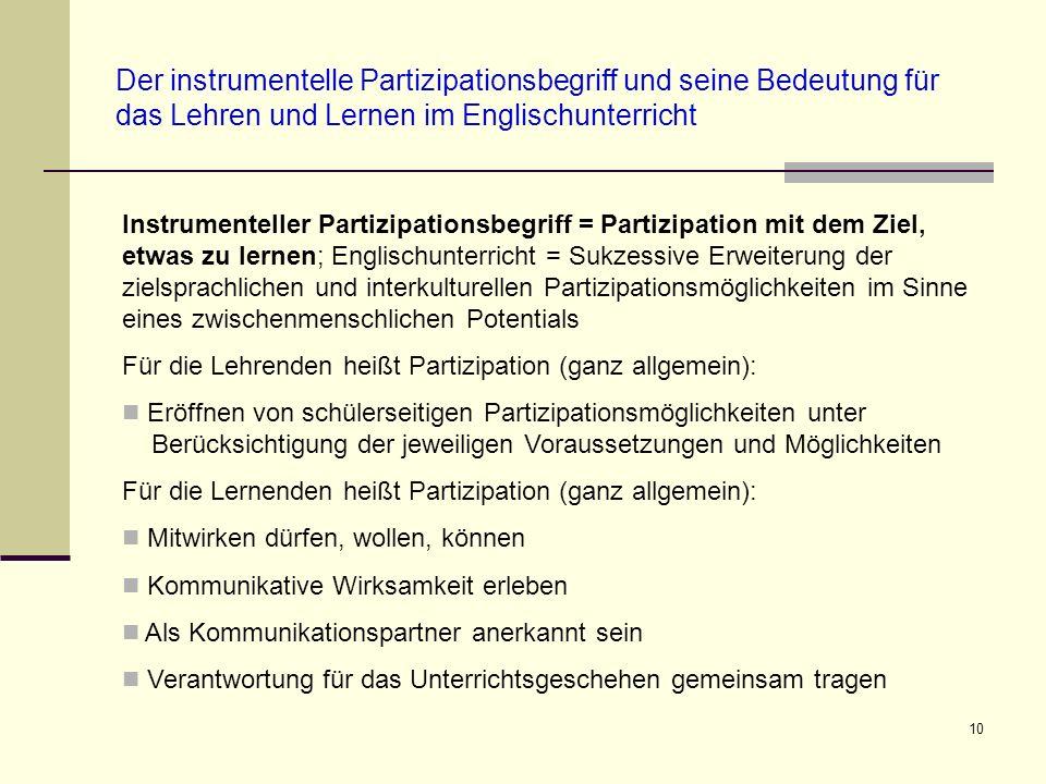 10 Der instrumentelle Partizipationsbegriff und seine Bedeutung für das Lehren und Lernen im Englischunterricht Instrumenteller Partizipationsbegriff