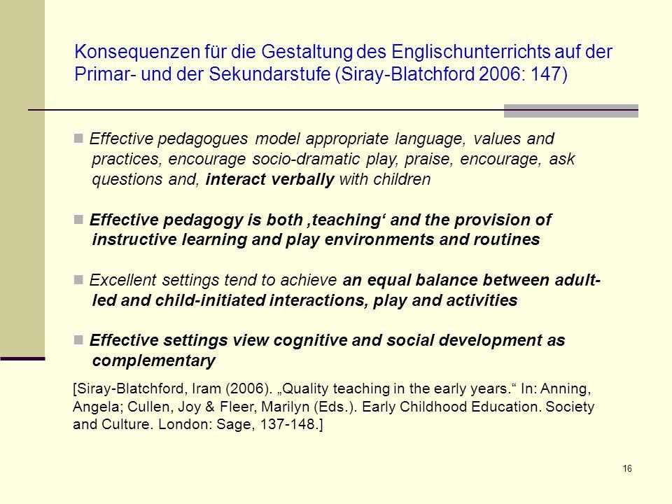 16 Konsequenzen für die Gestaltung des Englischunterrichts auf der Primar- und der Sekundarstufe (Siray-Blatchford 2006: 147) Effective pedagogues mod