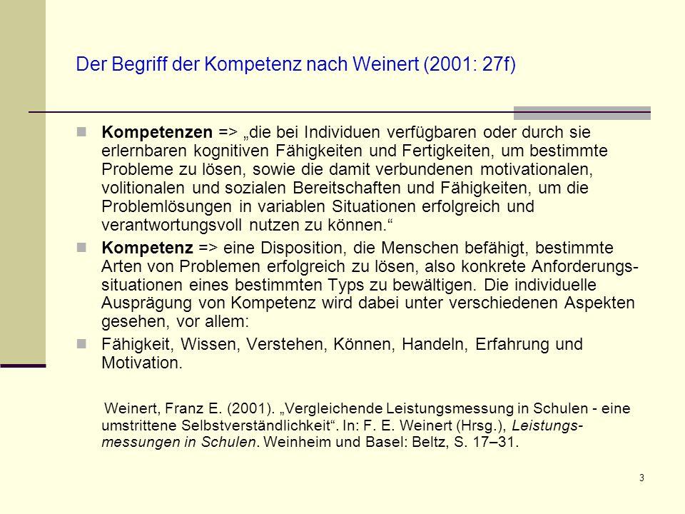 3 Der Begriff der Kompetenz nach Weinert (2001: 27f) Kompetenzen => die bei Individuen verfügbaren oder durch sie erlernbaren kognitiven Fähigkeiten u