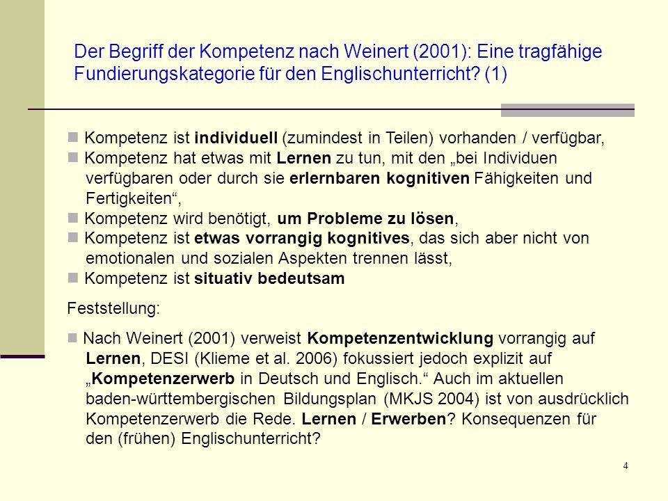 4 Der Begriff der Kompetenz nach Weinert (2001): Eine tragfähige Fundierungskategorie für den Englischunterricht? (1) Kompetenz ist individuell (zumin