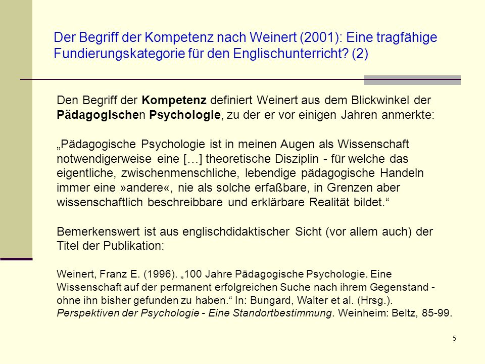16 Konsequenzen für die Gestaltung des Englischunterrichts auf der Primar- und der Sekundarstufe (Siray-Blatchford 2006: 147) Effective pedagogues model appropriate language, values and practices, encourage socio-dramatic play, praise, encourage, ask questions and, interact verbally with children Effective pedagogy is both teaching and the provision of instructive learning and play environments and routines Excellent settings tend to achieve an equal balance between adult- led and child-initiated interactions, play and activities Effective settings view cognitive and social development as complementary [Siray-Blatchford, Iram (2006).