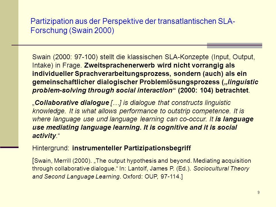 9 Partizipation aus der Perspektive der transatlantischen SLA- Forschung (Swain 2000) Swain (2000: 97-100) stellt die klassischen SLA-Konzepte (Input,