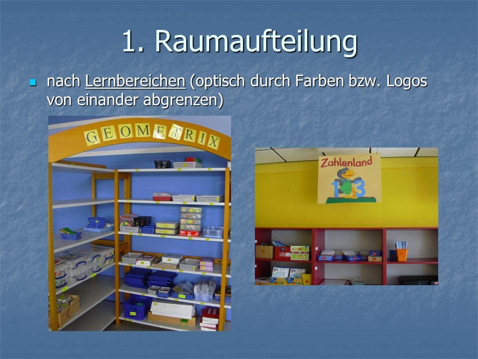 1. Raumaufteilung nach Lernbereichen (optisch durch Farben bzw. Logos von einander abgrenzen) nach Lernbereichen (optisch durch Farben bzw. Logos von