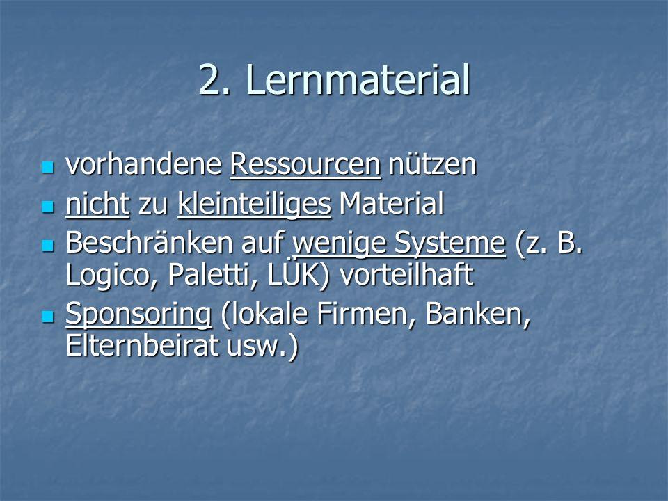 2. Lernmaterial vorhandene Ressourcen nützen vorhandene Ressourcen nützen nicht zu kleinteiliges Material nicht zu kleinteiliges Material Beschränken
