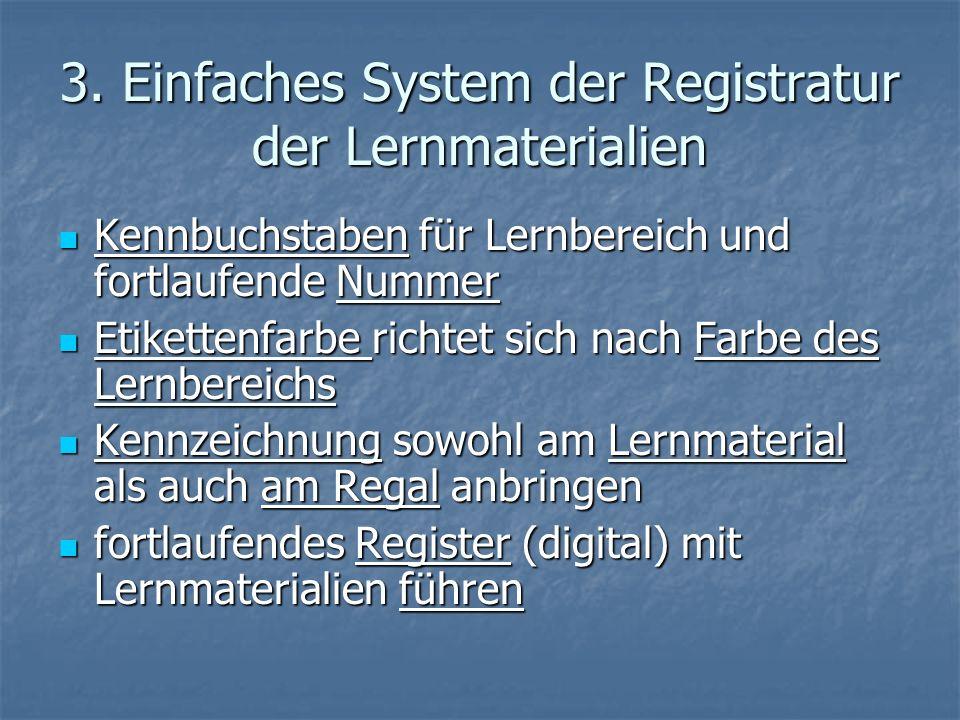 3. Einfaches System der Registratur der Lernmaterialien Kennbuchstaben für Lernbereich und fortlaufende Nummer Kennbuchstaben für Lernbereich und fort