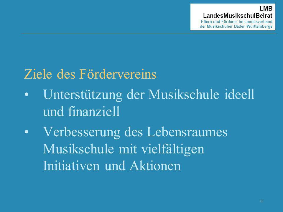 10 LMB LandesMusikschulBeirat Eltern und Förderer im Landesverband der Musikschulen Baden-Württembergs Ziele des Fördervereins Unterstützung der Musik
