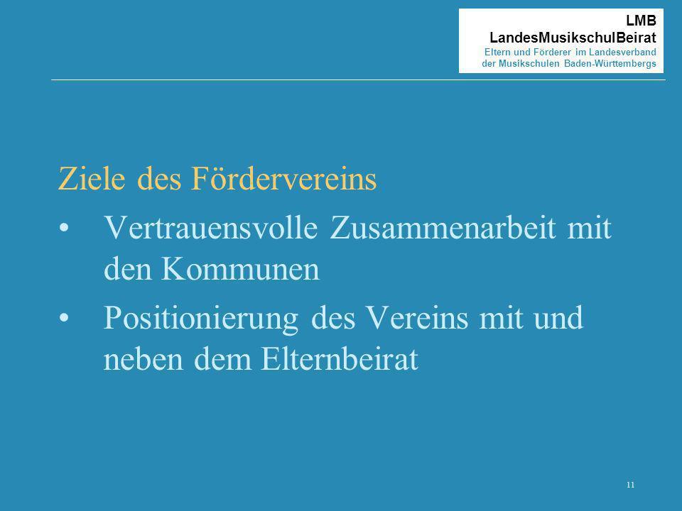11 LMB LandesMusikschulBeirat Eltern und Förderer im Landesverband der Musikschulen Baden-Württembergs Ziele des Fördervereins Vertrauensvolle Zusamme