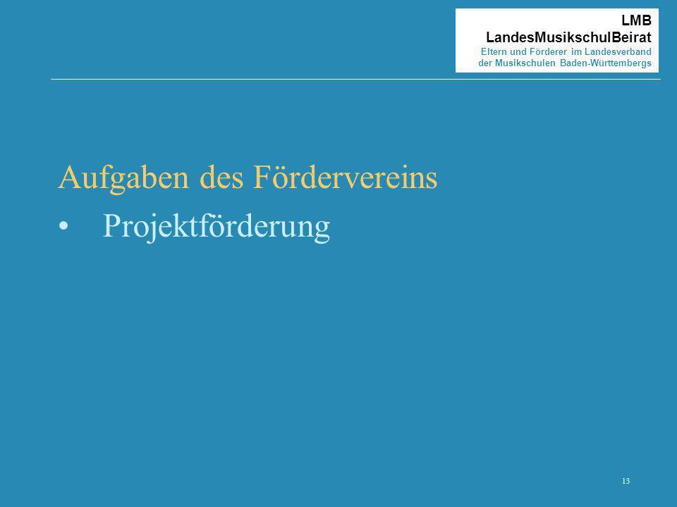 13 LMB LandesMusikschulBeirat Eltern und Förderer im Landesverband der Musikschulen Baden-Württembergs Aufgaben des Fördervereins Projektförderung