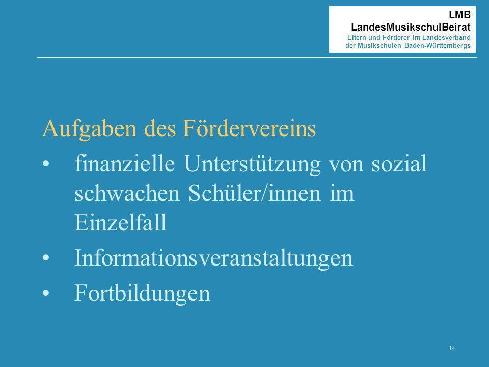 14 LMB LandesMusikschulBeirat Eltern und Förderer im Landesverband der Musikschulen Baden-Württembergs Aufgaben des Fördervereins finanzielle Unterstü