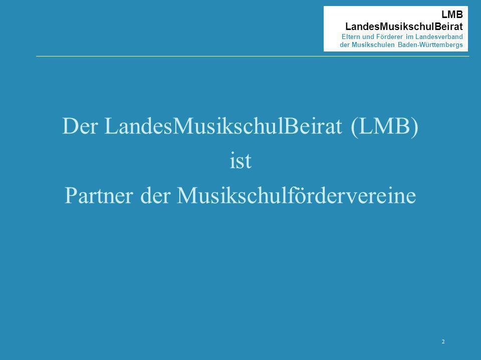 2 LMB LandesMusikschulBeirat Eltern und Förderer im Landesverband der Musikschulen Baden-Württembergs Der LandesMusikschulBeirat (LMB) ist Partner der