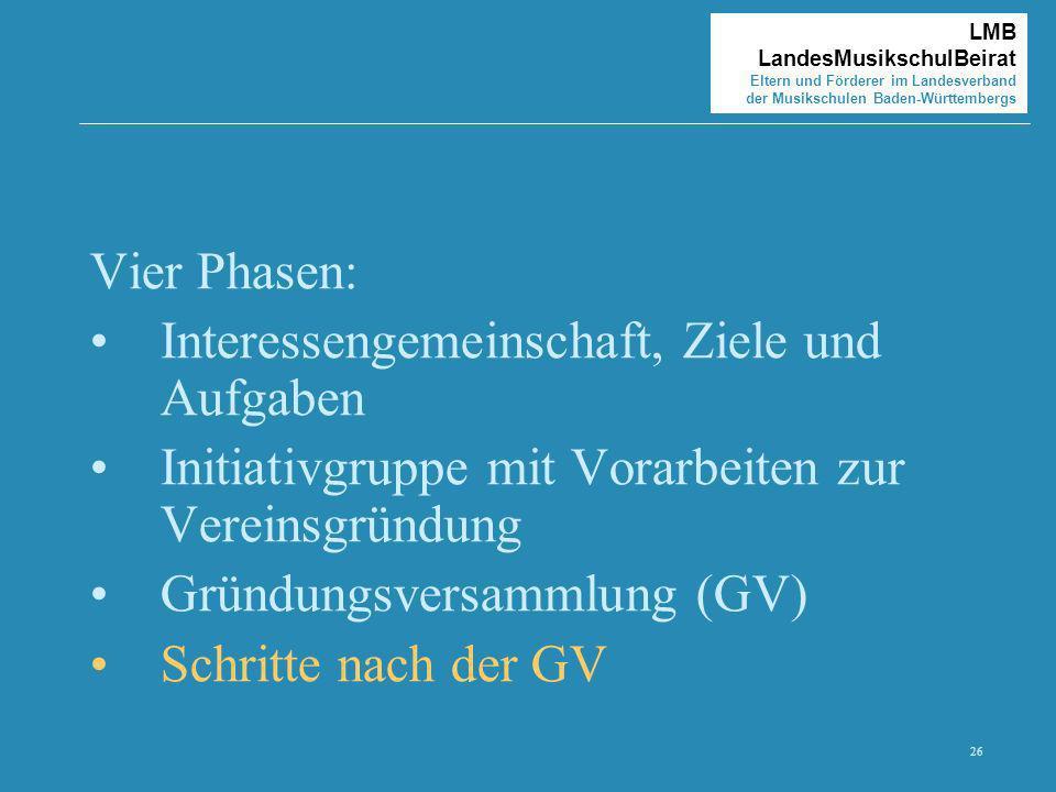 26 LMB LandesMusikschulBeirat Eltern und Förderer im Landesverband der Musikschulen Baden-Württembergs Vier Phasen: Interessengemeinschaft, Ziele und