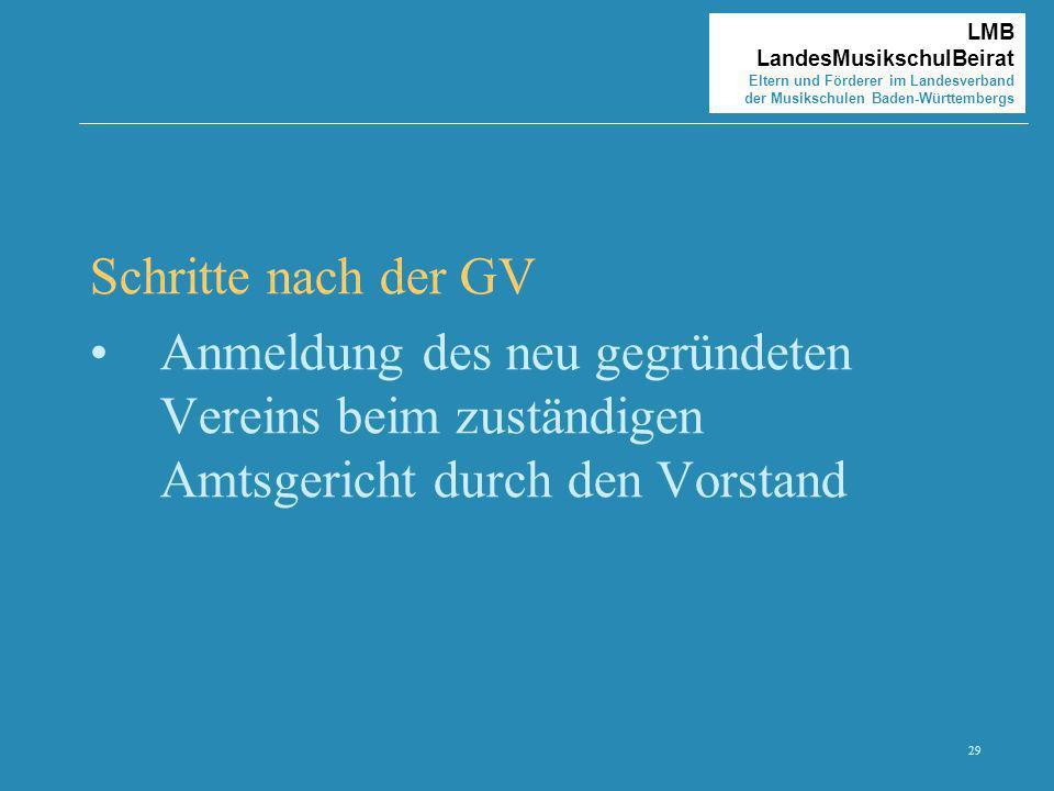 29 LMB LandesMusikschulBeirat Eltern und Förderer im Landesverband der Musikschulen Baden-Württembergs Schritte nach der GV Anmeldung des neu gegründe