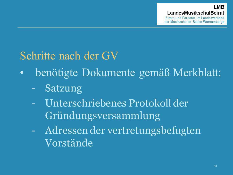 30 LMB LandesMusikschulBeirat Eltern und Förderer im Landesverband der Musikschulen Baden-Württembergs Schritte nach der GV benötigte Dokumente gemäß