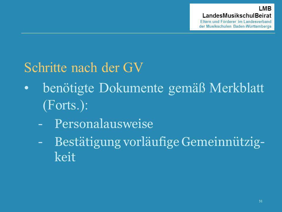 31 LMB LandesMusikschulBeirat Eltern und Förderer im Landesverband der Musikschulen Baden-Württembergs Schritte nach der GV benötigte Dokumente gemäß