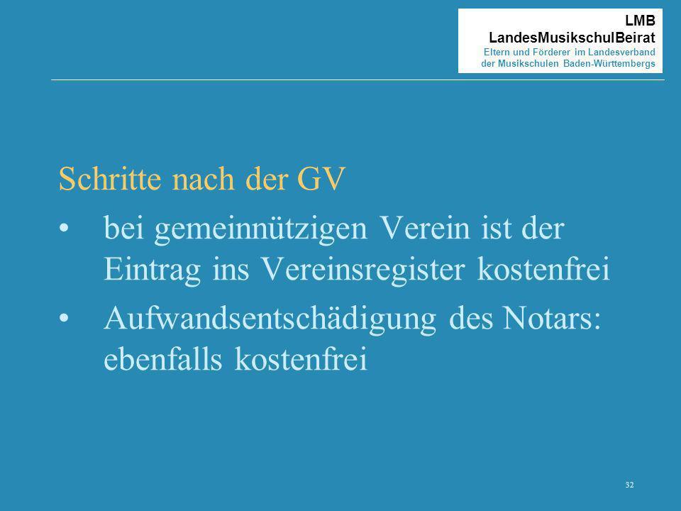 32 LMB LandesMusikschulBeirat Eltern und Förderer im Landesverband der Musikschulen Baden-Württembergs Schritte nach der GV bei gemeinnützigen Verein