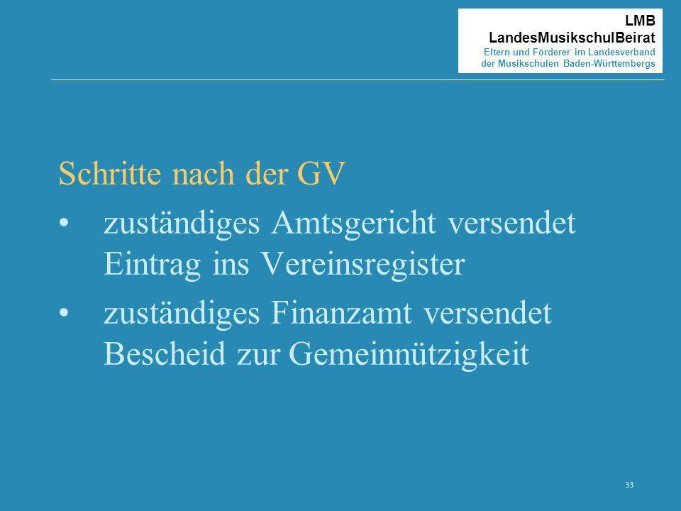 33 LMB LandesMusikschulBeirat Eltern und Förderer im Landesverband der Musikschulen Baden-Württembergs Schritte nach der GV zuständiges Amtsgericht ve