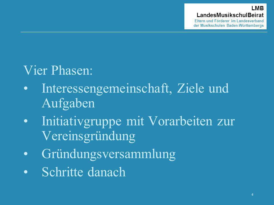6 LMB LandesMusikschulBeirat Eltern und Förderer im Landesverband der Musikschulen Baden-Württembergs Vier Phasen: Interessengemeinschaft, Ziele und A