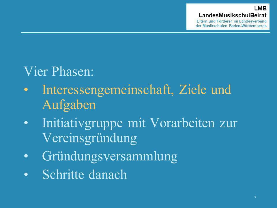 7 LMB LandesMusikschulBeirat Eltern und Förderer im Landesverband der Musikschulen Baden-Württembergs Vier Phasen: Interessengemeinschaft, Ziele und A