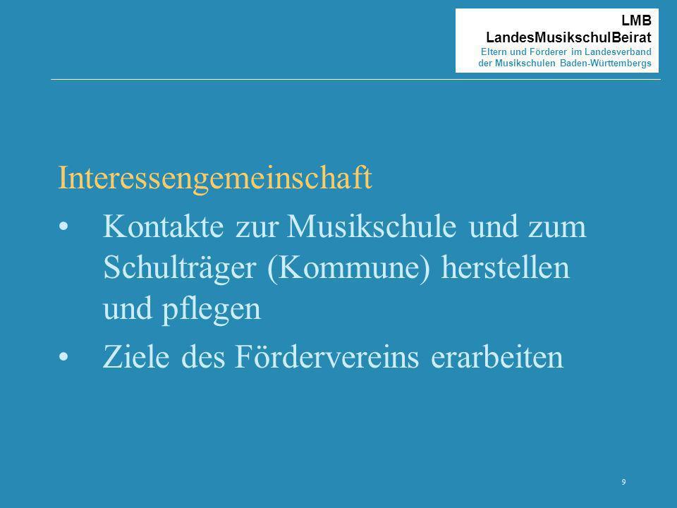 9 LMB LandesMusikschulBeirat Eltern und Förderer im Landesverband der Musikschulen Baden-Württembergs Interessengemeinschaft Kontakte zur Musikschule