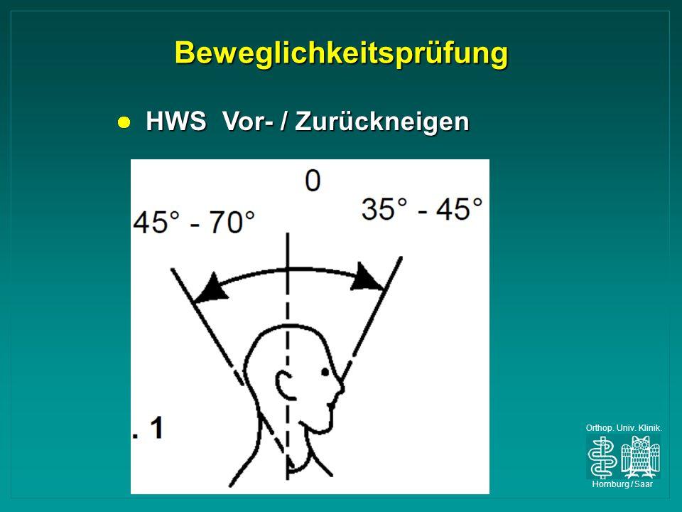 Orthop. Univ. Klinik. Homburg / Saar Beweglichkeitsprüfung HWS Vor- / Zurückneigen HWS Vor- / Zurückneigen