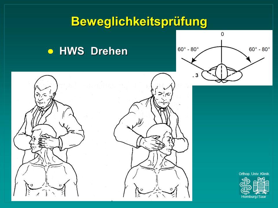 Orthop. Univ. Klinik. Homburg / Saar Beweglichkeitsprüfung HWS Drehen HWS Drehen
