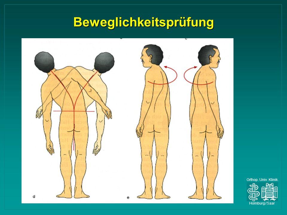 Orthop. Univ. Klinik. Homburg / Saar Beweglichkeitsprüfung