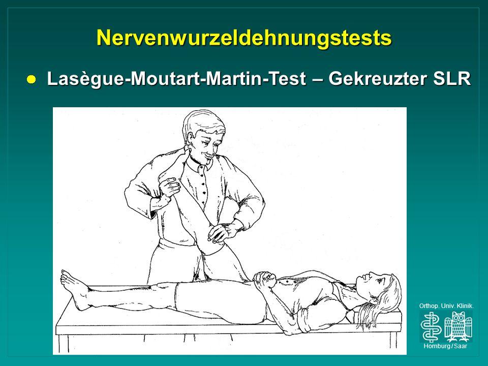 Orthop. Univ. Klinik. Homburg / Saar Nervenwurzeldehnungstests Lasègue-Moutart-Martin-Test – Gekreuzter SLR Lasègue-Moutart-Martin-Test – Gekreuzter S
