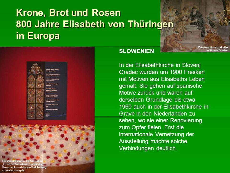 Krone, Brot und Rosen 800 Jahre Elisabeth von Thüringen in Europa SLOWENIEN In der Elisabethkirche in Slovenj Gradec wurden um 1900 Fresken mit Motive