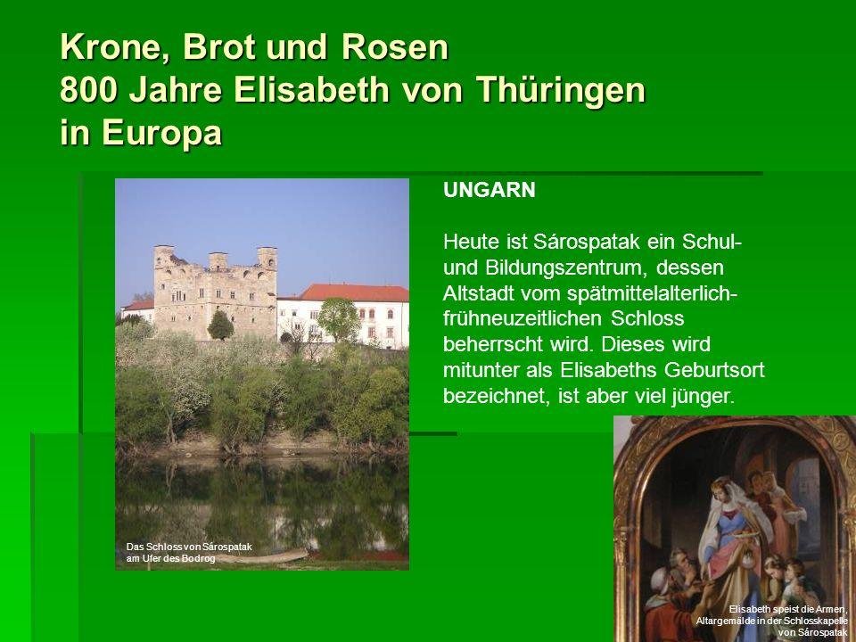 Krone, Brot und Rosen 800 Jahre Elisabeth von Thüringen in Europa UNGARN Heute ist Sárospatak ein Schul- und Bildungszentrum, dessen Altstadt vom spät