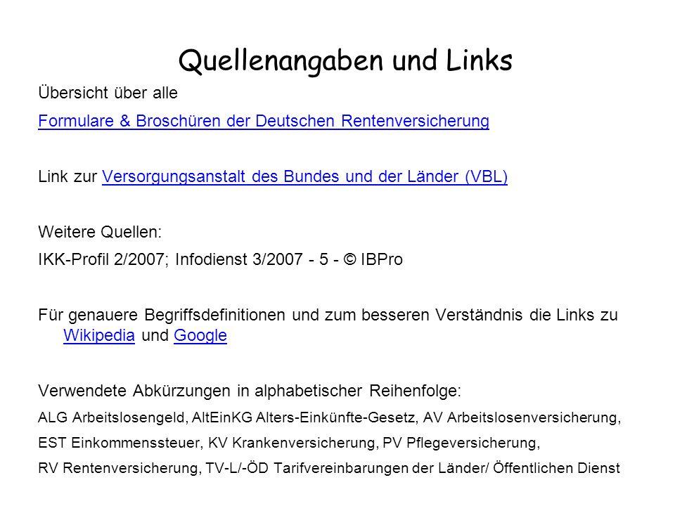 Quellenangaben und Links Übersicht über alle Formulare & Broschüren der Deutschen Rentenversicherung Link zur Versorgungsanstalt des Bundes und der Lä