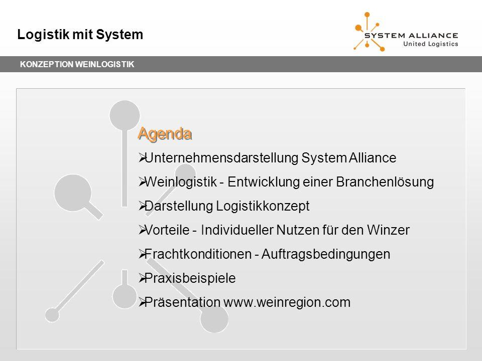 KONZEPTION WEINLOGISTIK Logistik mit System Unternehmensdarstellung System Alliance Weinlogistik - Entwicklung einer Branchenlösung Darstellung Logist