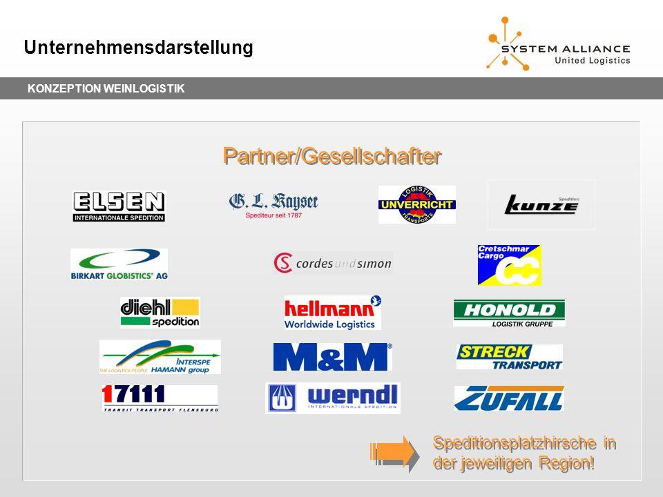 KONZEPTION WEINLOGISTIK Unternehmensdarstellung Partner/Gesellschafter Speditionsplatzhirsche in der jeweiligen Region!