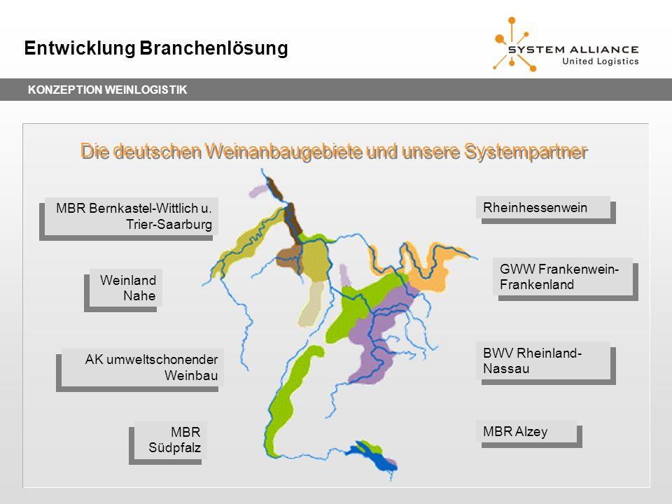 KONZEPTION WEINLOGISTIK Entwicklung Branchenlösung Die deutschen Weinanbaugebiete und unsere Systempartner Rheinhessenwein GWW Frankenwein- Frankenlan