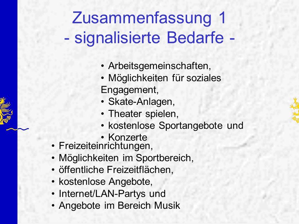 Zusammenfassung 1 - signalisierte Bedarfe - Arbeitsgemeinschaften, Möglichkeiten für soziales Engagement, Skate-Anlagen, Theater spielen, kostenlose S