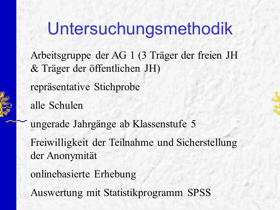 Untersuchungsmethodik Arbeitsgruppe der AG 1 (3 Träger der freien JH & Träger der öffentlichen JH) repräsentative Stichprobe Freiwilligkeit der Teilna
