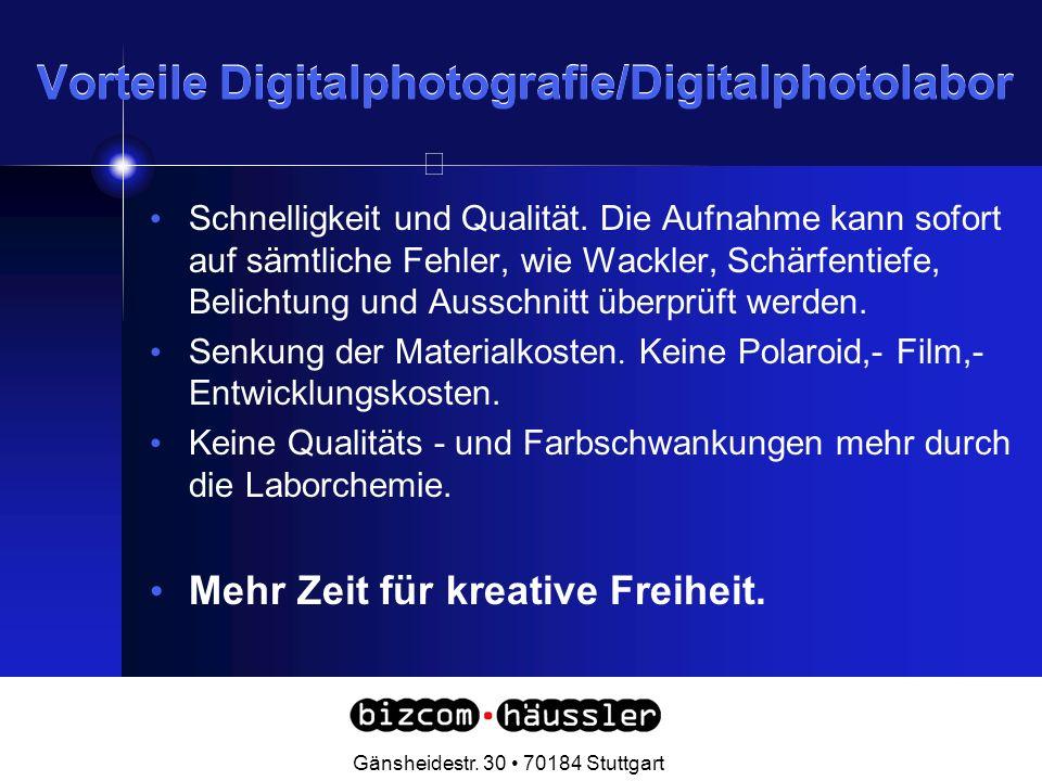 Vorteile Digitalphotografie/Digitalphotolabor Schnelligkeit und Qualität.