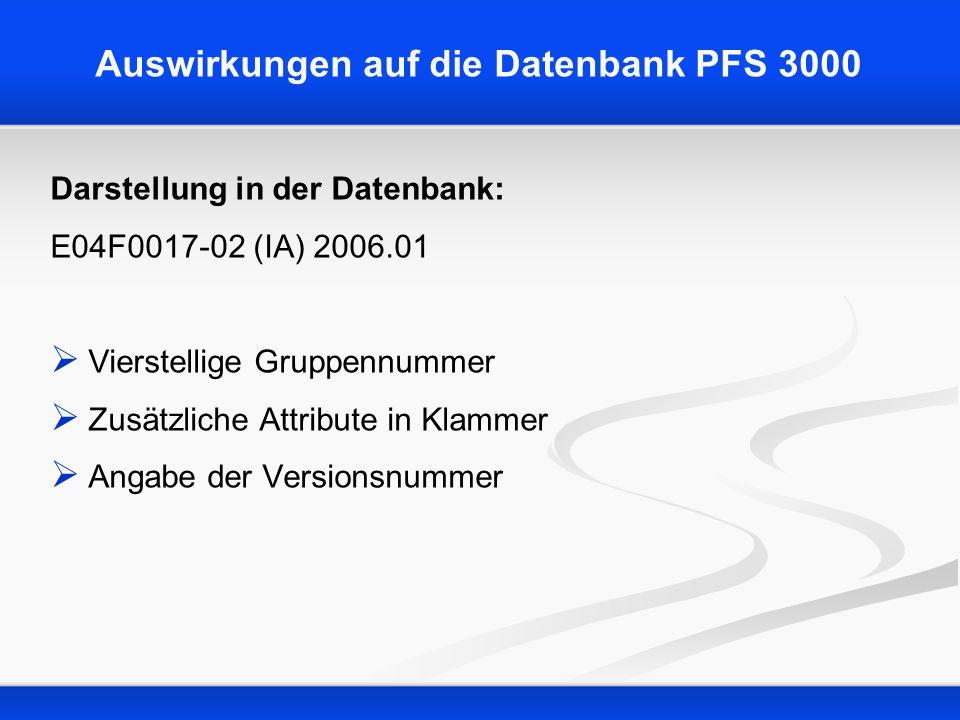 Auswirkungen auf die Datenbank PFS 3000 Darstellung in der Datenbank: E04F0017-02 (IA) 2006.01 Vierstellige Gruppennummer Zusätzliche Attribute in Kla