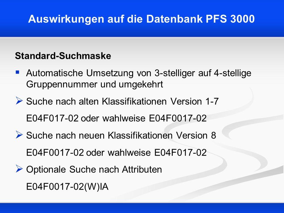 Auswirkungen auf die Datenbank PFS 3000 Standard-Suchmaske Automatische Umsetzung von 3-stelliger auf 4-stellige Gruppennummer und umgekehrt Suche nac