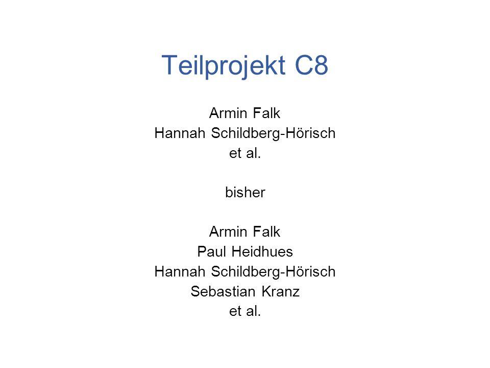 Teilprojekt C8 Armin Falk Hannah Schildberg-Hörisch et al. bisher Armin Falk Paul Heidhues Hannah Schildberg-Hörisch Sebastian Kranz et al.