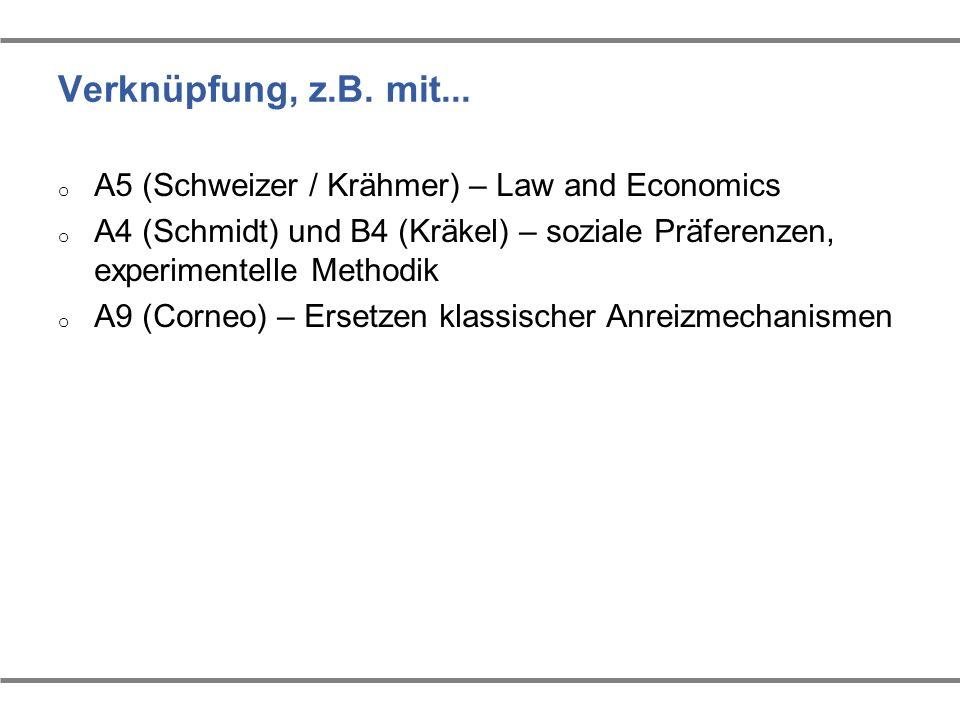 Verknüpfung, z.B. mit... o A5 (Schweizer / Krähmer) – Law and Economics o A4 (Schmidt) und B4 (Kräkel) – soziale Präferenzen, experimentelle Methodik