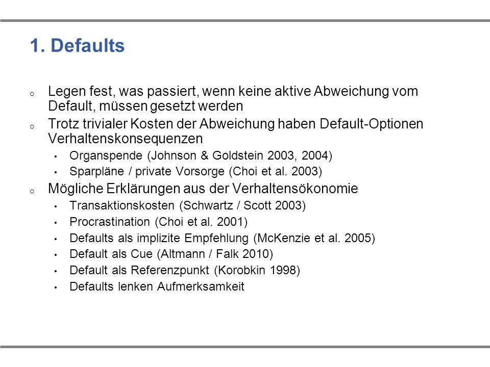 1. Defaults o Legen fest, was passiert, wenn keine aktive Abweichung vom Default, müssen gesetzt werden o Trotz trivialer Kosten der Abweichung haben