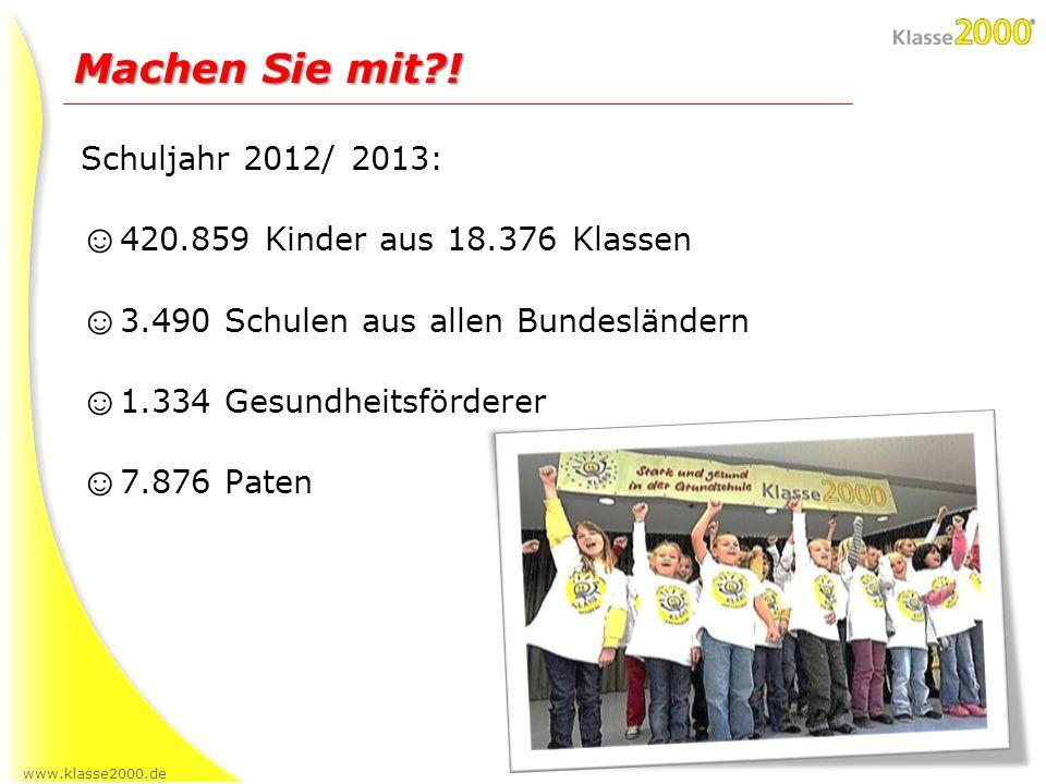 www.klasse2000.de Schuljahr 2012/ 2013: 420.859 Kinder aus 18.376 Klassen 3.490 Schulen aus allen Bundesländern 1.334 Gesundheitsförderer 7.876 Paten