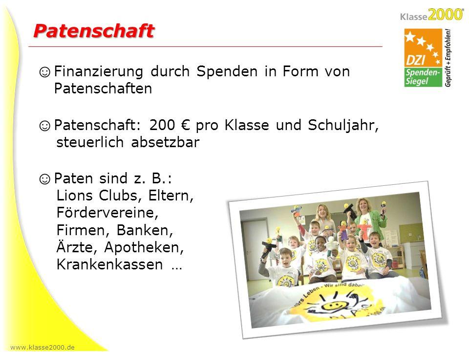 www.klasse2000.de Finanzierung durch Spenden in Form von Patenschaften Patenschaft: 200 pro Klasse und Schuljahr, steuerlich absetzbar Paten sind z. B