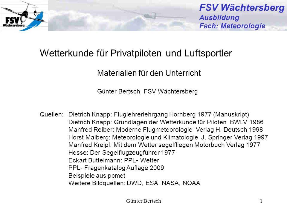 Günter Bertsch12 FSV Wächtersberg Ausbildung Fach: Meteorologie Wind/Temperatutvorhersagekarte EUR FL50 Gültig für 26.