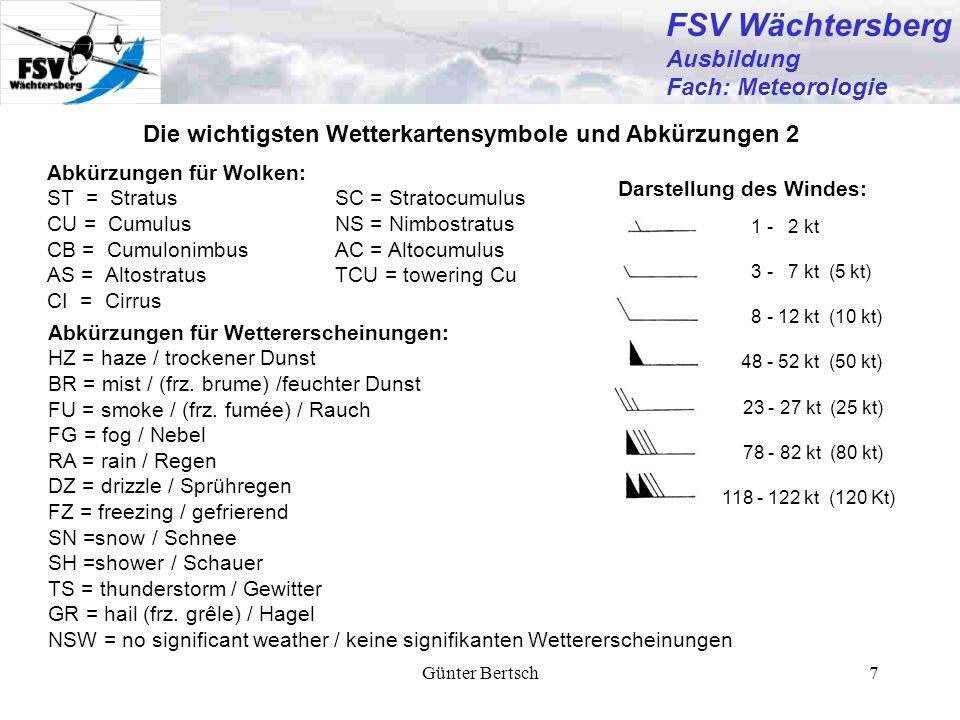 Günter Bertsch7 FSV Wächtersberg Ausbildung Fach: Meteorologie Die wichtigsten Wetterkartensymbole und Abkürzungen 2 1 - 2 kt 3 - 7 kt (5 kt) 8 - 12 k