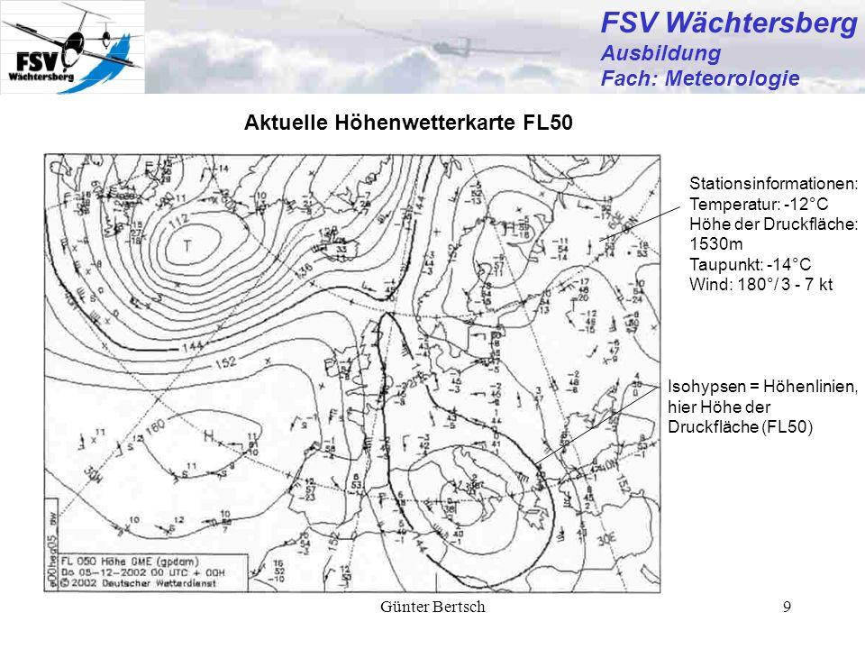 Günter Bertsch10 FSV Wächtersberg Ausbildung Fach: Meteorologie Low Level Significant Weather Chart (LLSWC) Legende mit den Beschreibungen der Wetterfelder Wetterfeldgrenze Verlagerungs- geschwindigkeit der Front in kt Kennzeichnung für Wetterfeld, dessen Eigenschaften in der Legende beschrieben werden.
