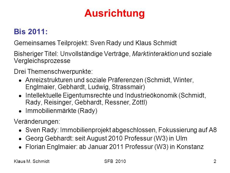 Klaus M. SchmidtSFB 20102 Ausrichtung Bis 2011: Gemeinsames Teilprojekt: Sven Rady und Klaus Schmidt Bisheriger Titel: Unvollständige Verträge, Markti