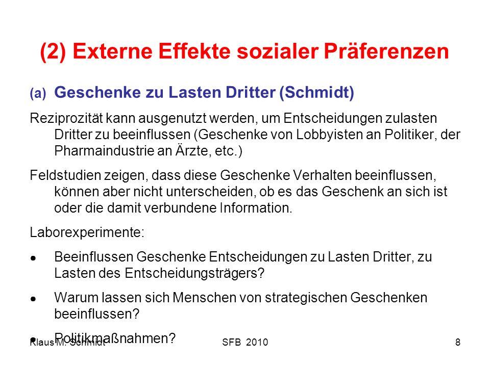 Klaus M. SchmidtSFB 20108 (2) Externe Effekte sozialer Präferenzen (a) Geschenke zu Lasten Dritter (Schmidt) Reziprozität kann ausgenutzt werden, um E