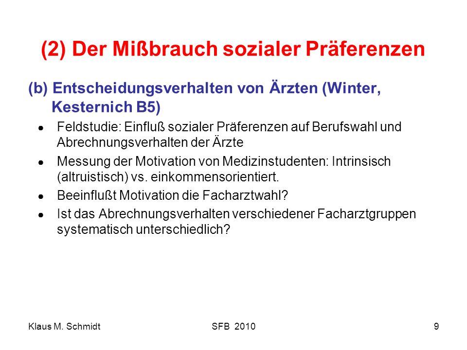 Klaus M. SchmidtSFB 20109 (2) Der Mißbrauch sozialer Präferenzen (b) Entscheidungsverhalten von Ärzten (Winter, Kesternich B5) Feldstudie: Einfluß soz