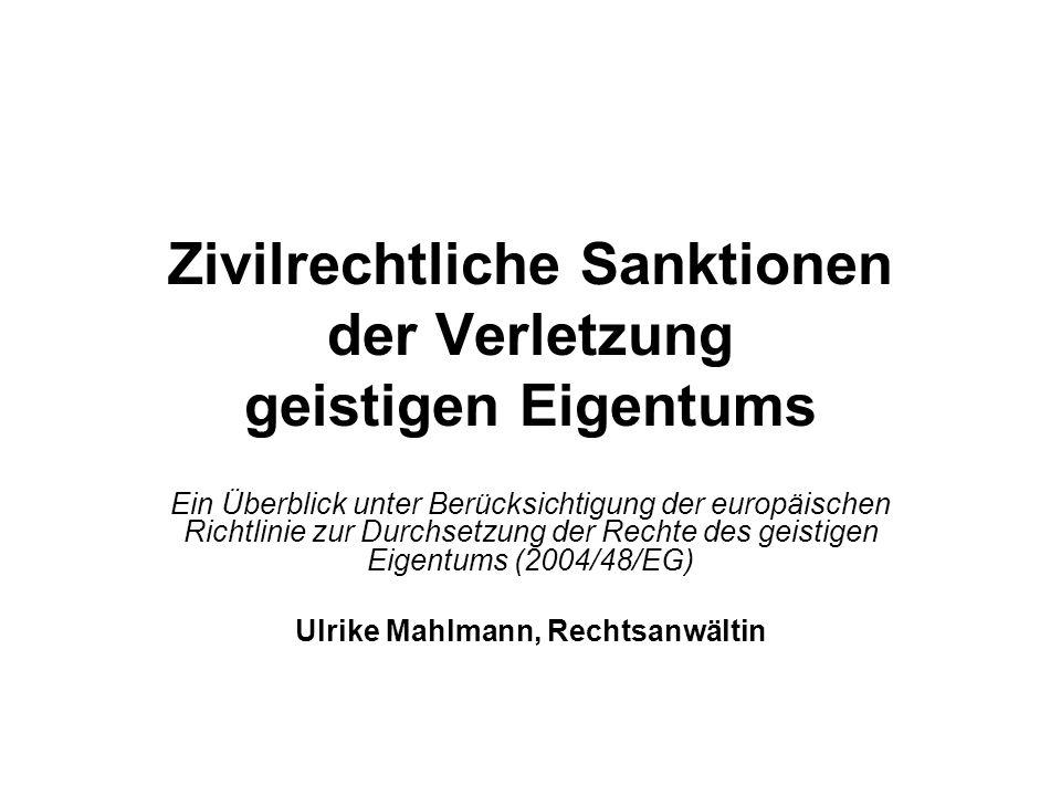 Zivilrechtliche Sanktionen der Verletzung geistigen Eigentums Ein Überblick unter Berücksichtigung der europäischen Richtlinie zur Durchsetzung der Re